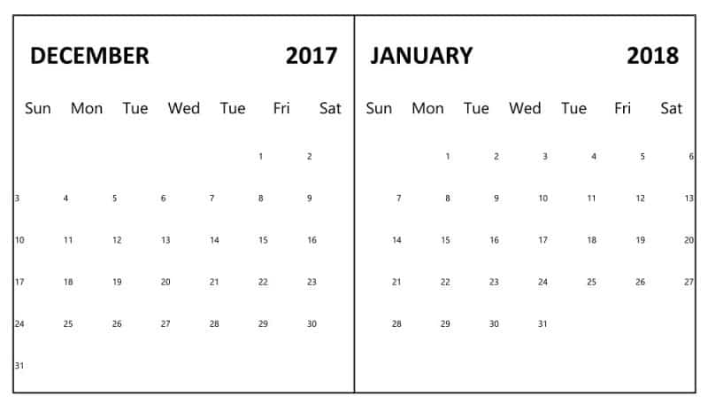 Calendar Printable December 2017 January 2018