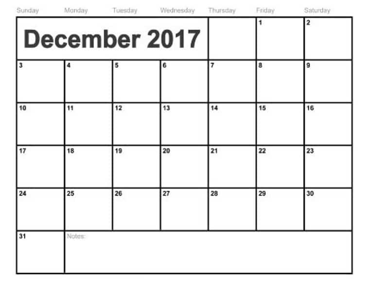 Cute December 2017 Calendar Template