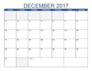 December 2017 Calendar Monthly