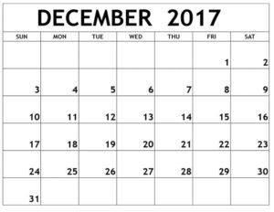 December 2017 Calendar Printable Monthly