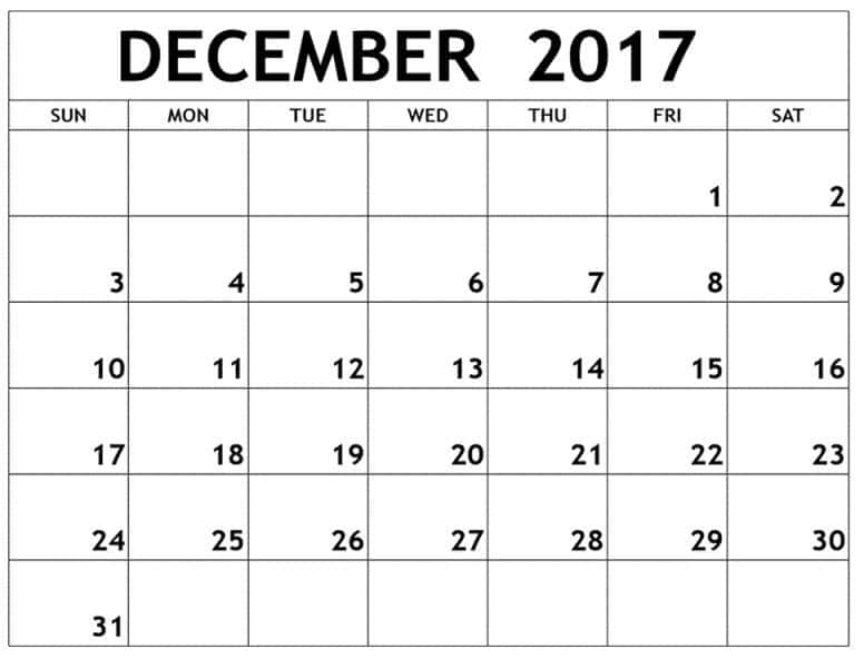 December 2017 Calendar Printable Monthly