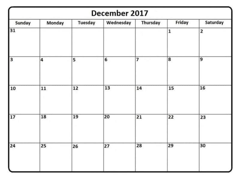 December 2017 Calendar Printable Template