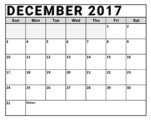 December 2017 Calendar Printable Word