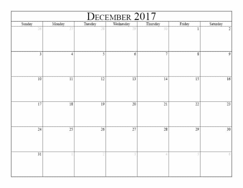December 2017 Calendar Start Friday
