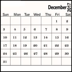 December 2017 Calendar Template