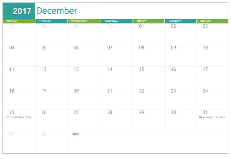 December 2017 Calendar Template PDF Word