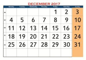 December 2017 Colored Calendar