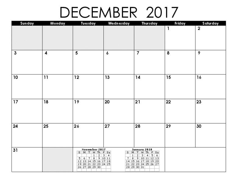 December 2017 January 2018 Calendar Printable Template