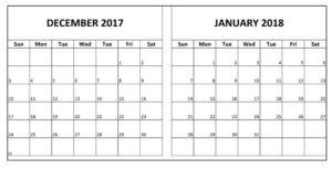 December 2017 and January 2018 Printable Calendar