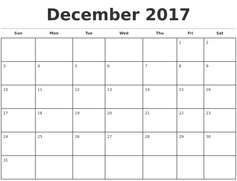 December 2017 Monthly Calendar Template