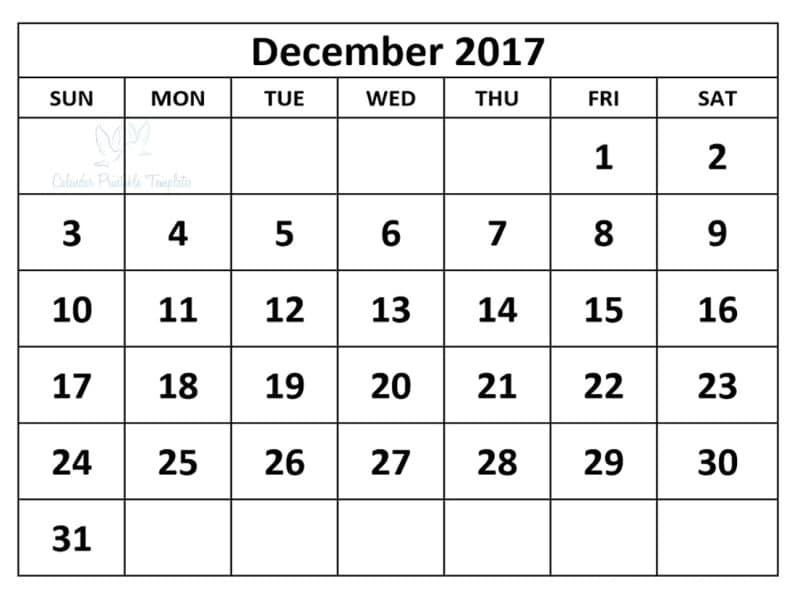December 2017 calendar Printable