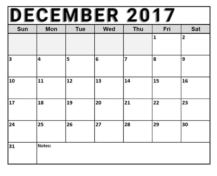 December Calendar 2017 Printable Template