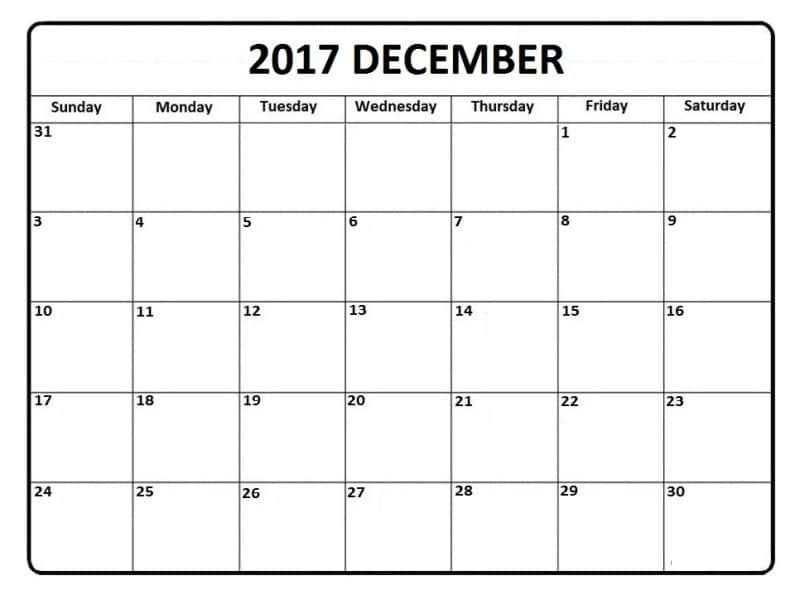 December Calendar 2017 Printable