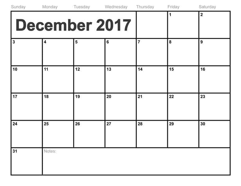 December Calendar 2017 Template