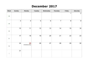 December Calendar 2017 With Holidays