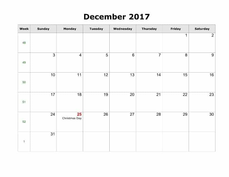 December Calendar 2017 With Holidays