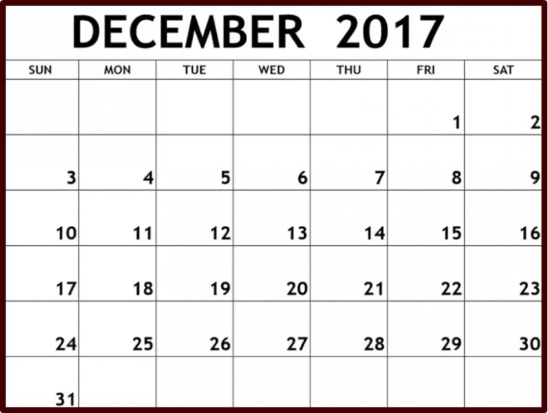 December Calendar Printable 2017