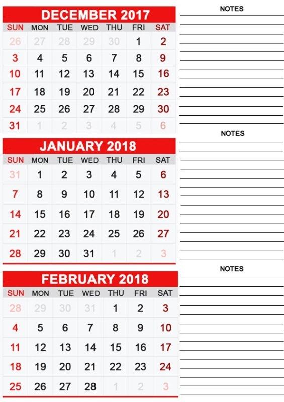December January 2018 Printable Calendar