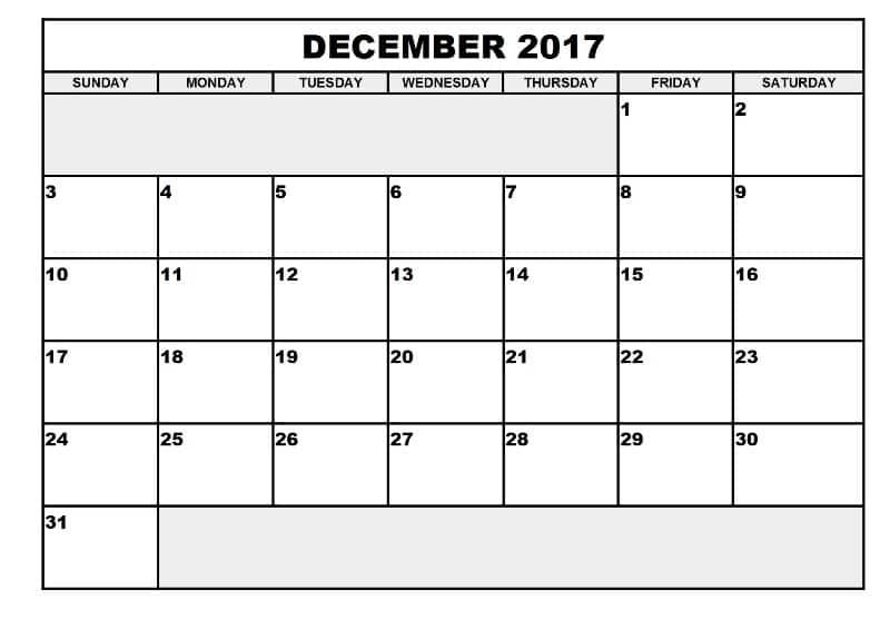 December Printable 2017 Calendar Template