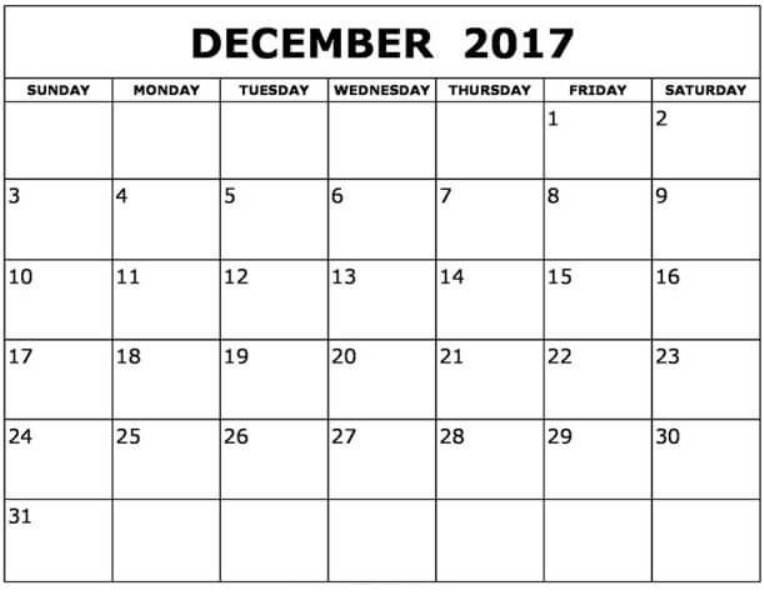 December Printable Calendar 2017