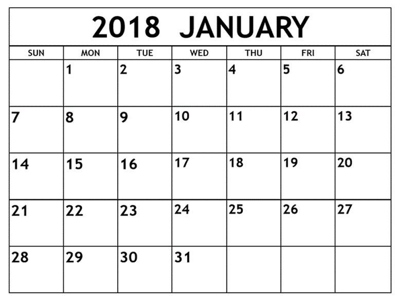 January 2018 Blank Calendar
