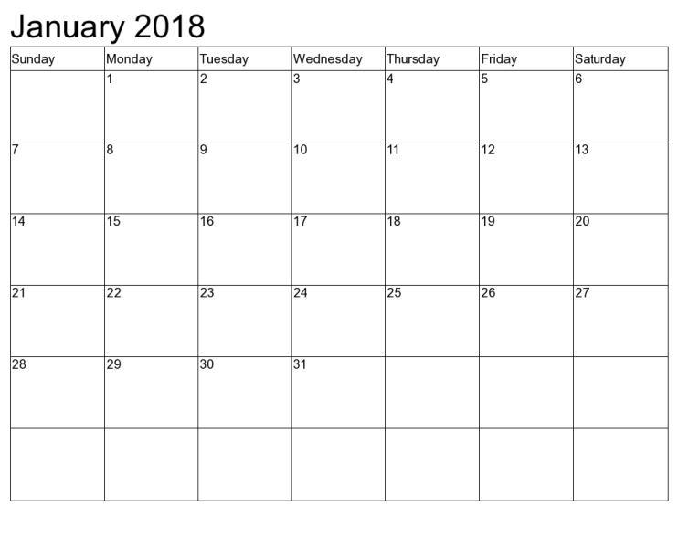 January 2018 Calendar PDF