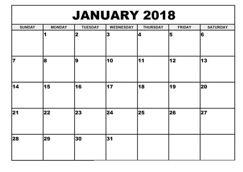 image relating to January Calendar Printable known as Printable January 2018 Calendar Free of charge Phrase, PDF Estimate