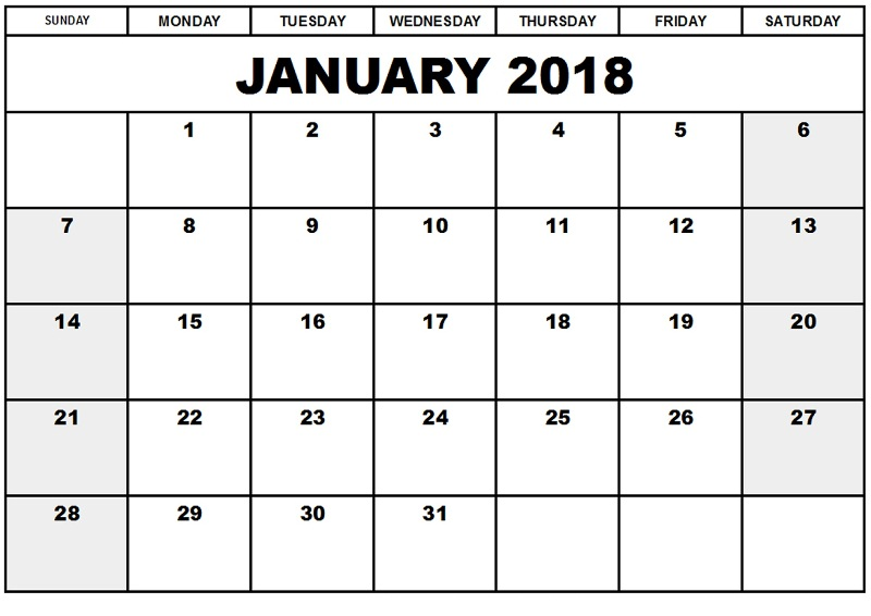 January 2018 Calendar Printable Template