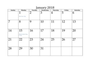 January 2018 Calendar Template