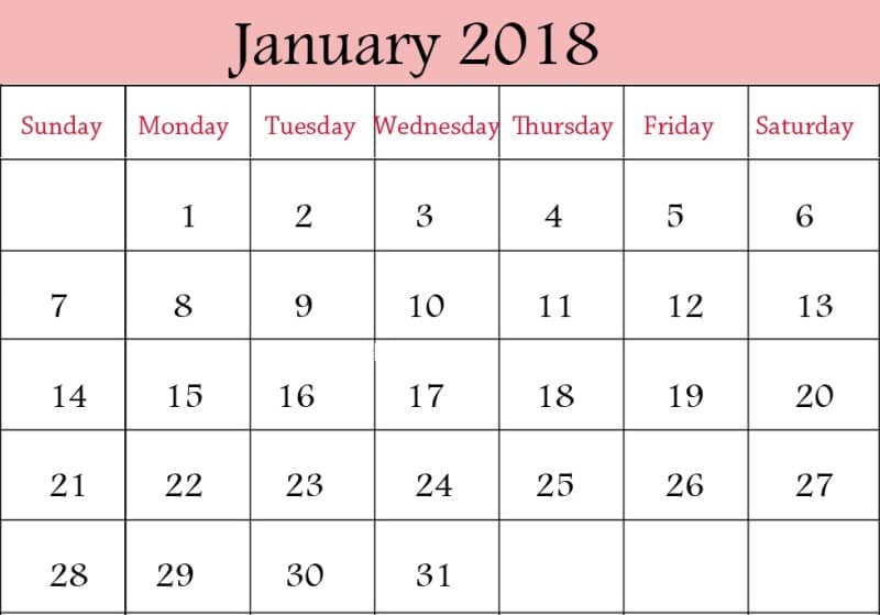 January 2018 Calendar With Holidays Printable