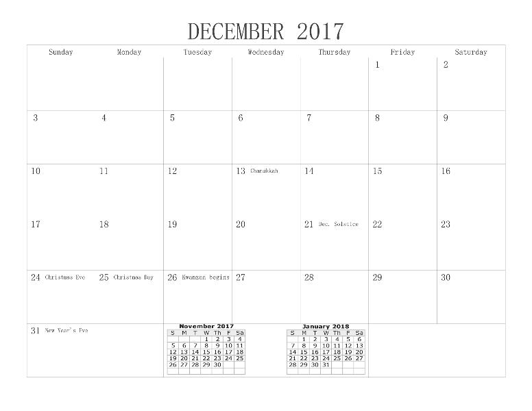 January 2018 December 2017 Calendar Printable
