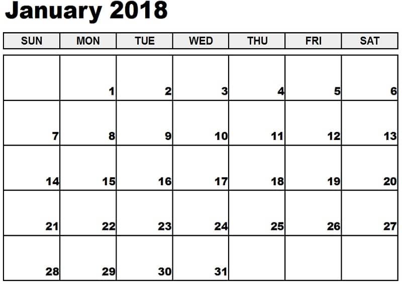 January Calendar 2018