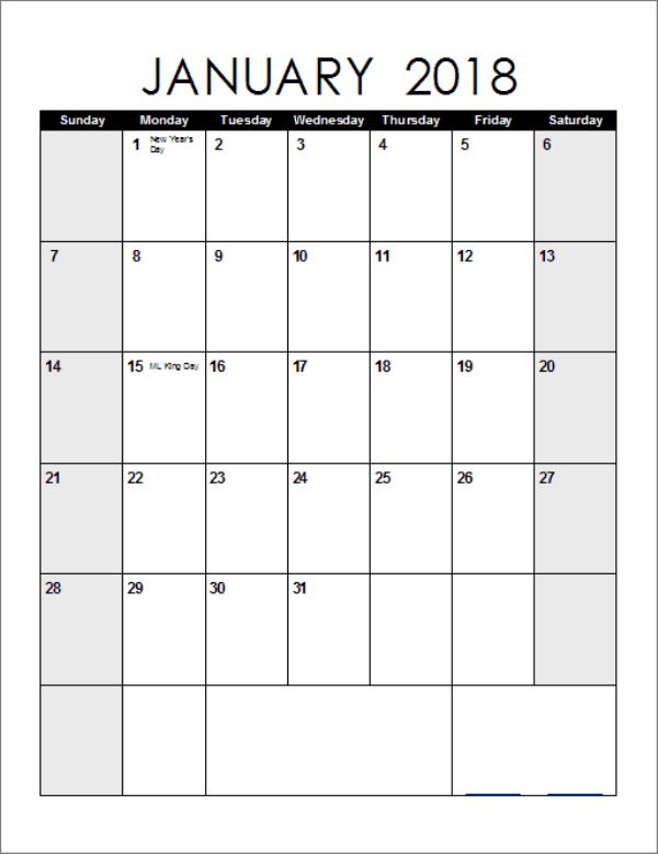 January Calendar 2018 Printable Template