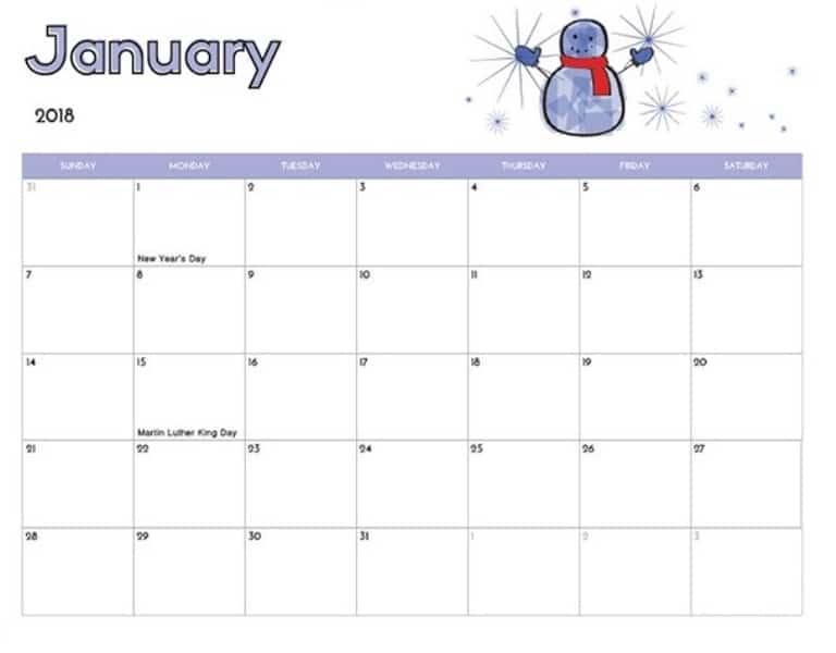 January Calendar 2018 Template