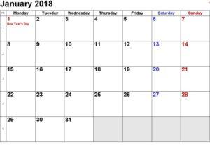 January Calendar 2018 With Holidays