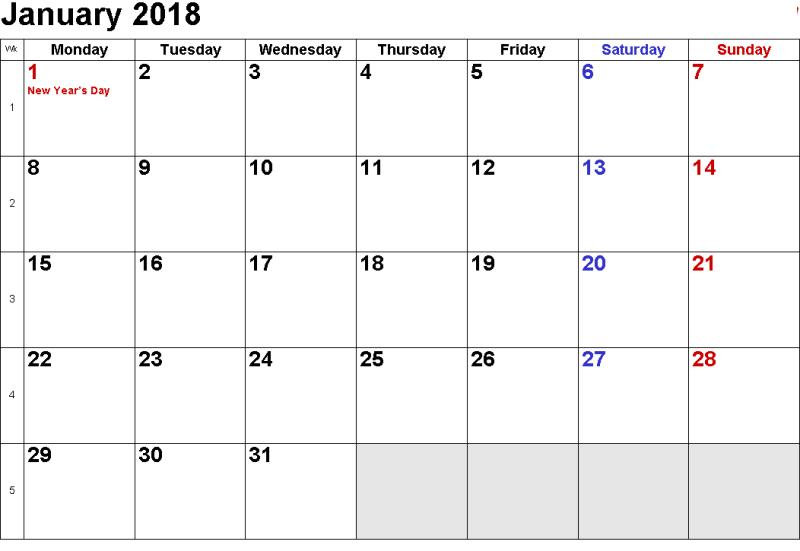 January Calendar 2018 With Holidays