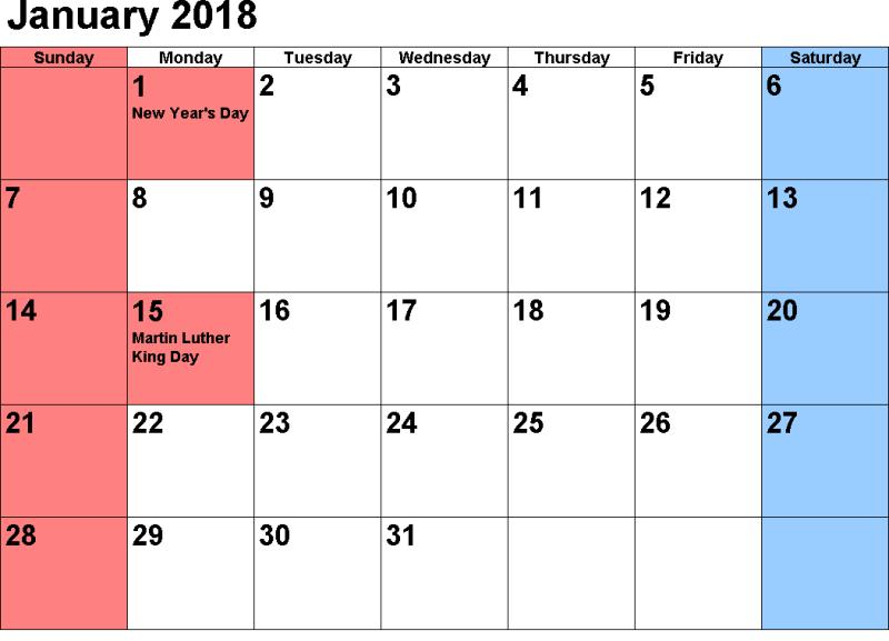 January Calendar Printable 2018
