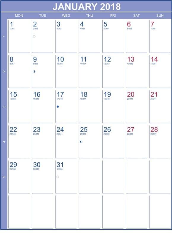 Lunar Calendar 2018 January