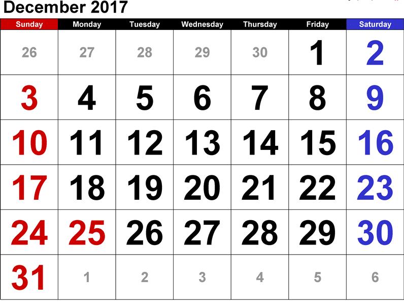 Monthly Calendar 2017 December