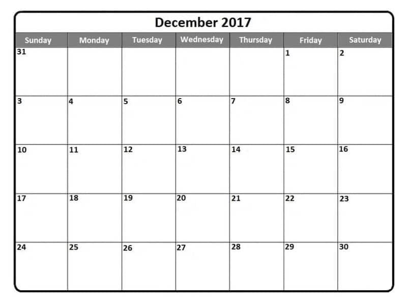 Monthly December 2017 Calendar Template