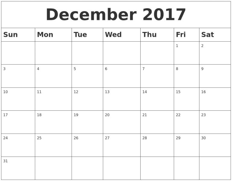 Monthly December 2017 Calendar