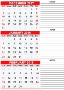 Monthly December 2017 January 2018 Printable Calendar