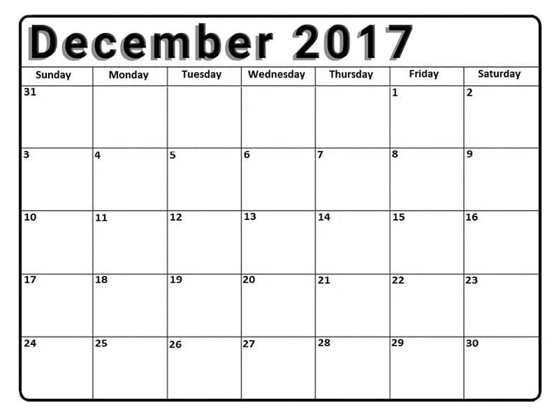 Monthly Printable December 2017 Calendar