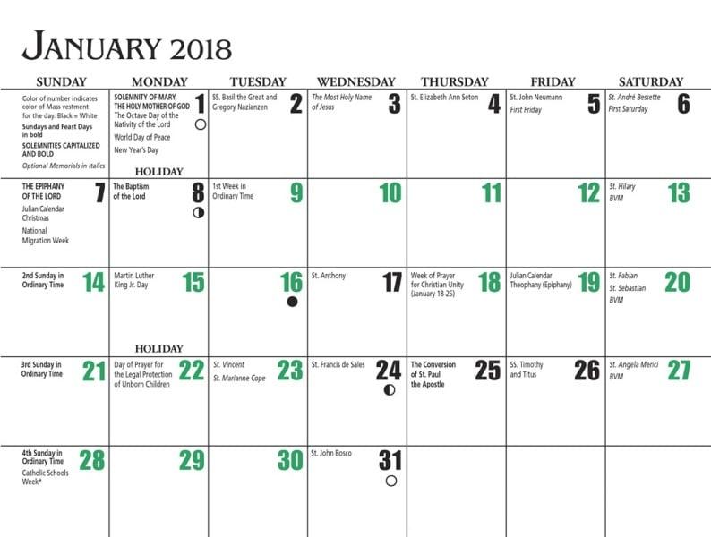 Moon Calendar 2018 January