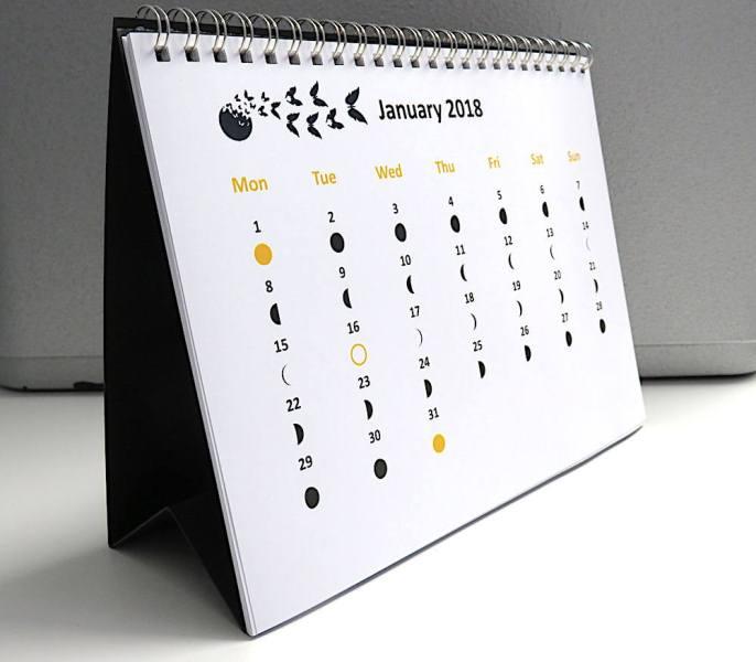 Moon Phases Calendar 2018 January