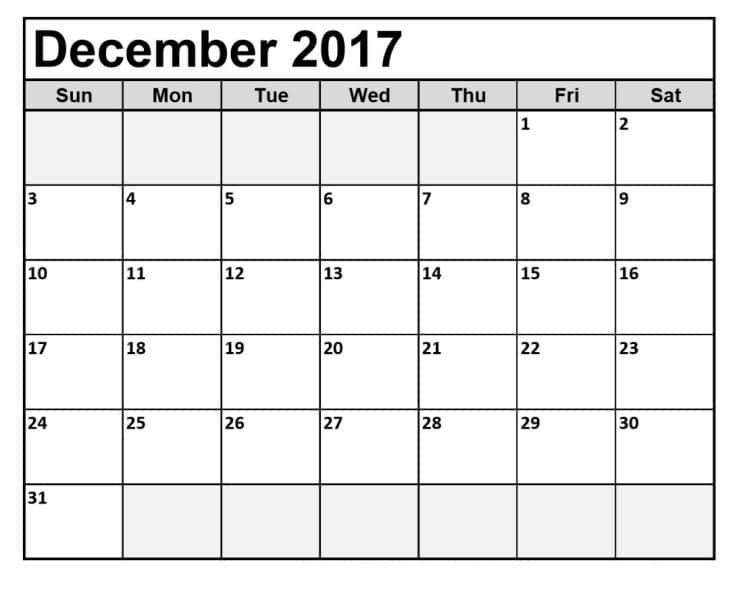 Printable Blank 2017 December Calendar