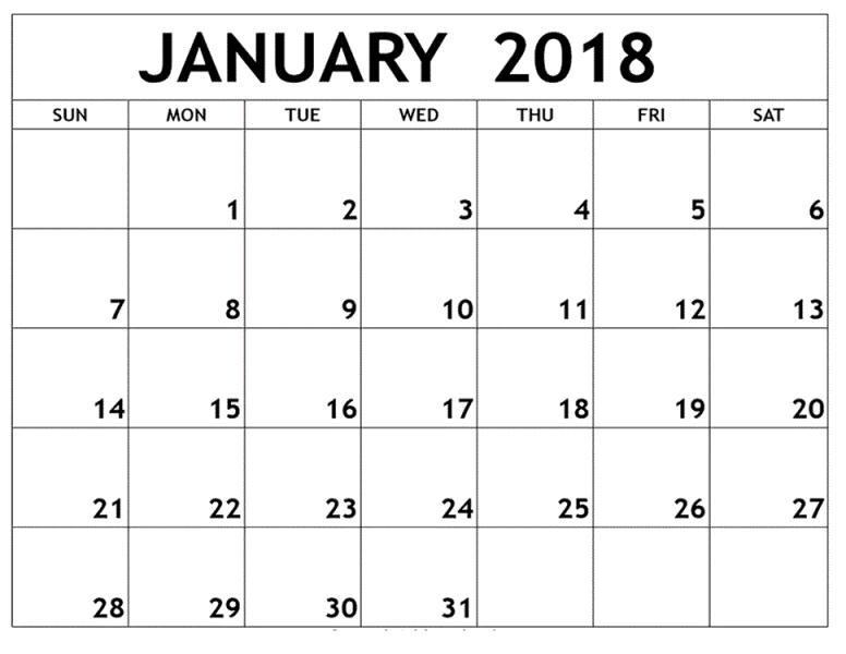 Printable Blank Calendar January 2018