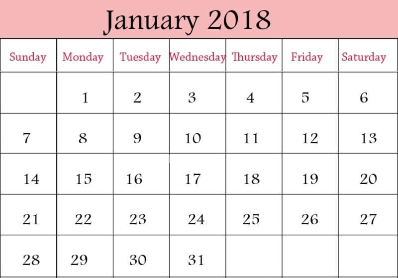 Printable Calendar 2018 January Template