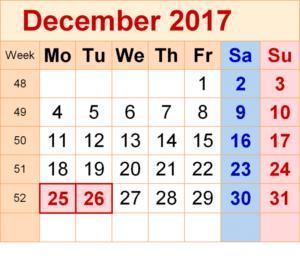 Printable Calendar December 2017