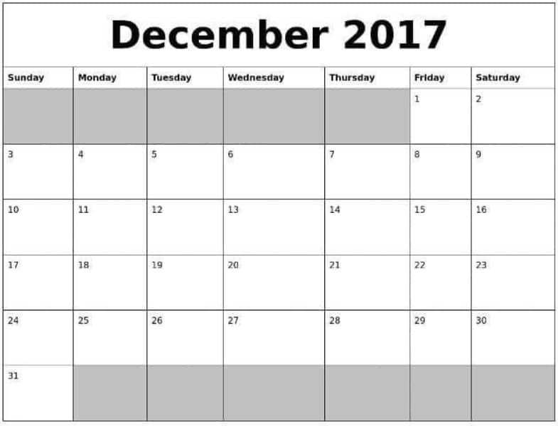 Printable December 2017 Calendar